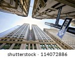 looking up at broadway's...   Shutterstock . vector #114072886
