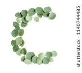 alphabet letters from leaves... | Shutterstock . vector #1140744485