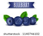 blueberry with green leaves ... | Shutterstock .eps vector #1140746102