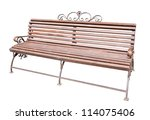 brown bench isolated on white... | Shutterstock . vector #114075406
