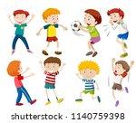 a set of boy activities... | Shutterstock .eps vector #1140759398