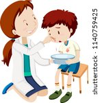a boy bleeding nose ... | Shutterstock .eps vector #1140759425