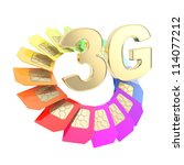 3G golden emblem surrounded with circuit microchip SIM cardS isolated on white background - stock photo