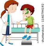 doctor helping injured boy... | Shutterstock .eps vector #1140794192