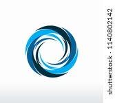 circle blue tornado logo symbol ... | Shutterstock .eps vector #1140802142