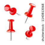 set of red push pins in... | Shutterstock .eps vector #1140813068