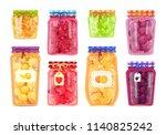 preserved fruit in glass jars... | Shutterstock .eps vector #1140825242