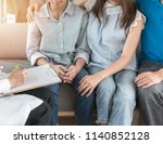 teenager patient with parents... | Shutterstock . vector #1140852128