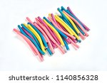 color hair curlers on a white... | Shutterstock . vector #1140856328