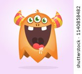 angry orange cartoon monster... | Shutterstock .eps vector #1140858482