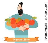 happy man is holding ripe... | Shutterstock .eps vector #1140859685
