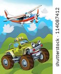 the car and the flying machine  ... | Shutterstock . vector #114087412