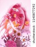 woman with flowers inside ...   Shutterstock . vector #1140877292