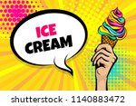 caucasian girl hand pop art... | Shutterstock .eps vector #1140883472