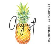 hello august inscription on the ... | Shutterstock .eps vector #1140884195