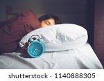 closeup young sleeping woman... | Shutterstock . vector #1140888305