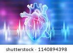 human heart. 3d illustration on ... | Shutterstock . vector #1140894398