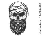 skull with beard and mustache.... | Shutterstock .eps vector #1140894908
