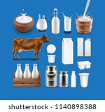 set of milk products   sour... | Shutterstock .eps vector #1140898388