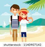 couple of young people making... | Shutterstock .eps vector #1140907142