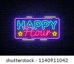happy hour neon sign vector... | Shutterstock .eps vector #1140911042