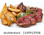 Slices Of Beef Steak And Frenc...