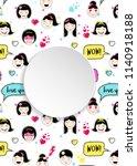 girl banner with anime emoji... | Shutterstock .eps vector #1140918188