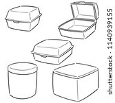 vector set of foam container | Shutterstock .eps vector #1140939155