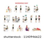 woman working day. sleeping and ... | Shutterstock . vector #1140946622