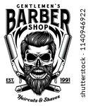 vintage bearded barber skull...   Shutterstock .eps vector #1140946922
