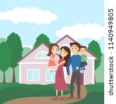 family with house. happy...   Shutterstock . vector #1140949805