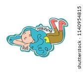 relax. girl lies. isolated...   Shutterstock .eps vector #1140954815