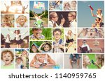collage of happy children... | Shutterstock . vector #1140959765