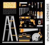 set of diy home repair working... | Shutterstock .eps vector #1140961835