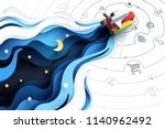 paper art of spaceship fly to... | Shutterstock .eps vector #1140962492