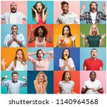 the collage of faces of... | Shutterstock . vector #1140964568
