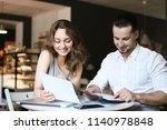 young happy businesswoman...   Shutterstock . vector #1140978848
