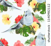 seamless texture budgerigar ... | Shutterstock .eps vector #1140982112