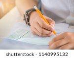 hand high school or college... | Shutterstock . vector #1140995132