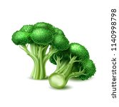 realistic raw broccoli cabbage. ... | Shutterstock .eps vector #1140998798