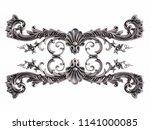 chrome ornament on a white... | Shutterstock . vector #1141000085