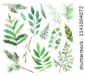 watercolor green spring leaves... | Shutterstock . vector #1141004072