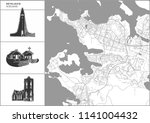 reykjavik city map with hand... | Shutterstock .eps vector #1141004432