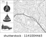 paris city map with hand drawn... | Shutterstock .eps vector #1141004465