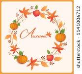 autumn wreath design... | Shutterstock .eps vector #1141006712