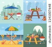 picnic table and outing... | Shutterstock .eps vector #1141007648