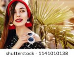 outdoor close up portrait of... | Shutterstock . vector #1141010138