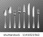 steel cutlery  knife  fork and... | Shutterstock .eps vector #1141021562
