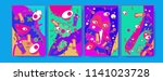 abstract colorful liquid and... | Shutterstock .eps vector #1141023728