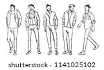 fashion man. set of fashionable ... | Shutterstock .eps vector #1141025102